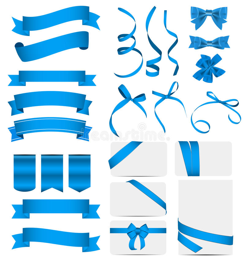Blue Ribbon y sistema del arco Ilustración del vector ilustración del vector