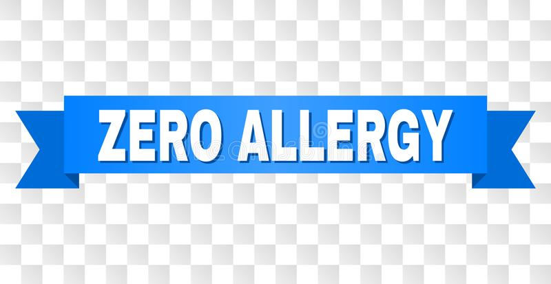 Blue Ribbon with ZERO ALLERGY Caption. ZERO ALLERGY text on a ribbon. Designed with white caption and blue tape. Vector banner with ZERO ALLERGY tag on a vector illustration