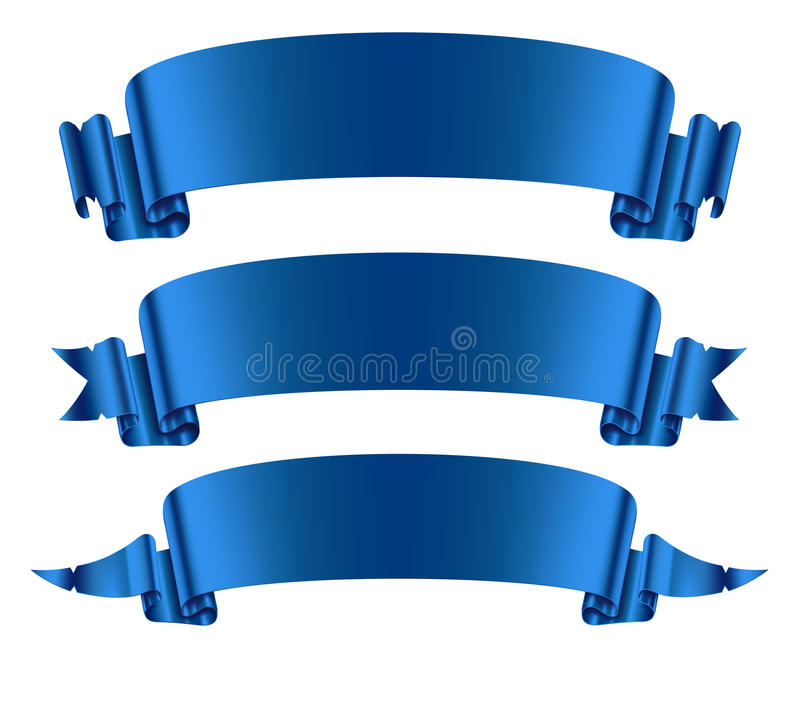 Blue ribbons banners set royalty free illustration