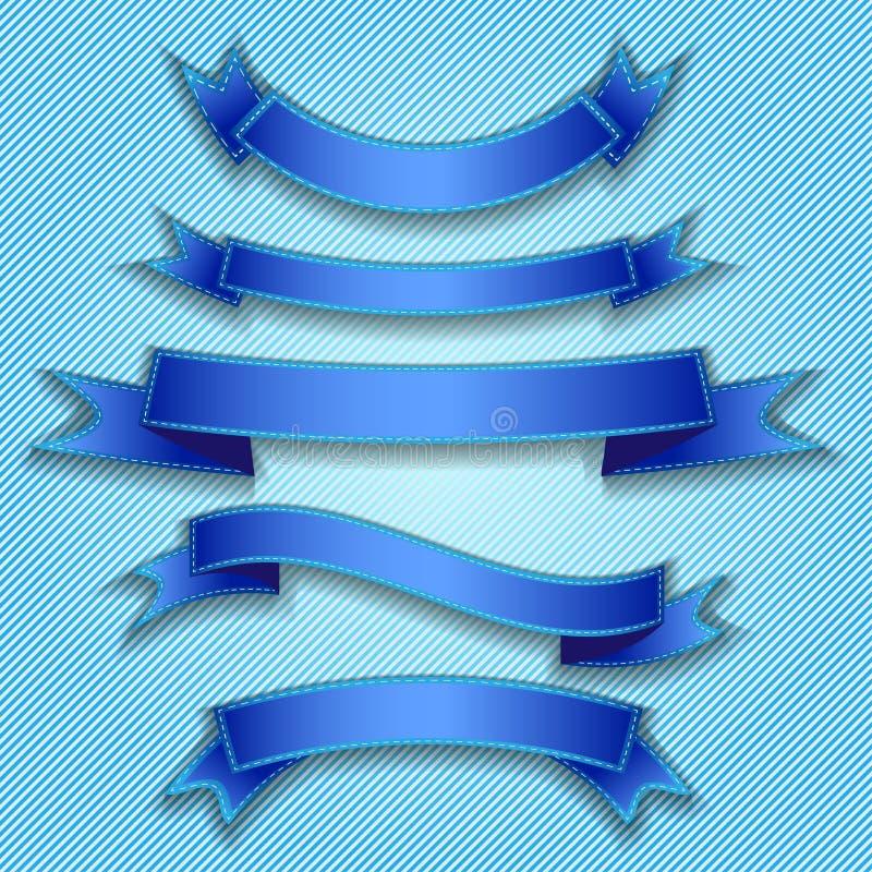 Blue ribbons. Illustration set of blue ribbons flags vector illustration