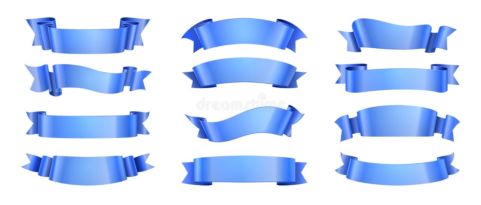 Blue ribbons. Realistic ribbon collection isolated. Vector elegance wave decoration elements with scroll shape for stock illustration