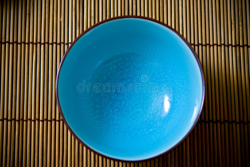 Download Blue Rice bowl stock image. Image of bowl, wood, setting - 6338277