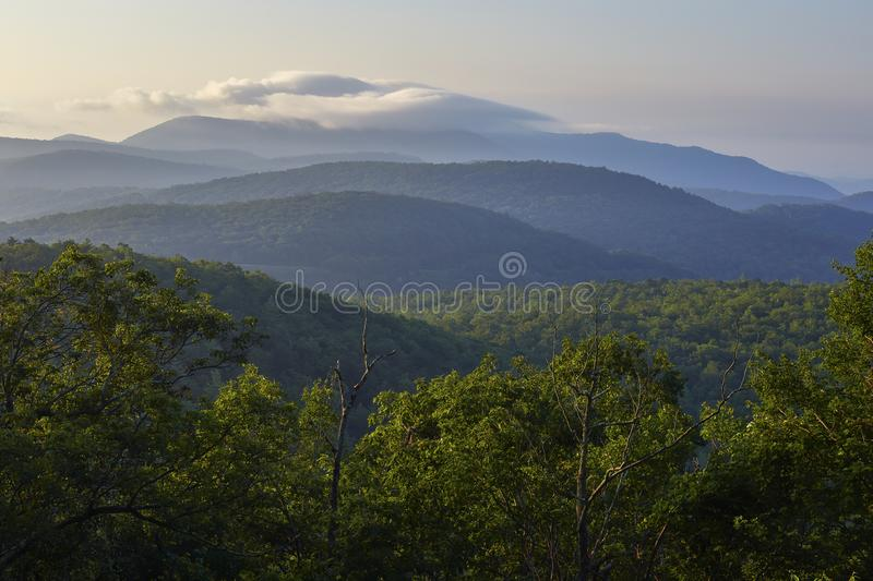 Blue Ridge Mountain Scenery in Nelson County, Virginia. Early morning view from the Blue Ridge Parkway between Waynesboro and Montebello, Virginia stock photos