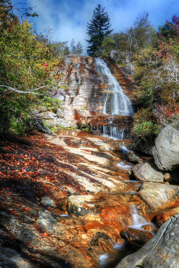 Blue Ridge Mountain Waterfall. Hiking the Blue Ridge Mountains in Graveyard Fields you will come along High Falls. Blue skies will greet you, so just follow the royalty free stock photos