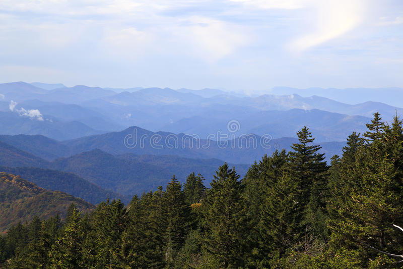 Blue Ridge Mountains. Appalachian Blue Ridge Mountains in North Carolina with blue haze and clouds stock photos
