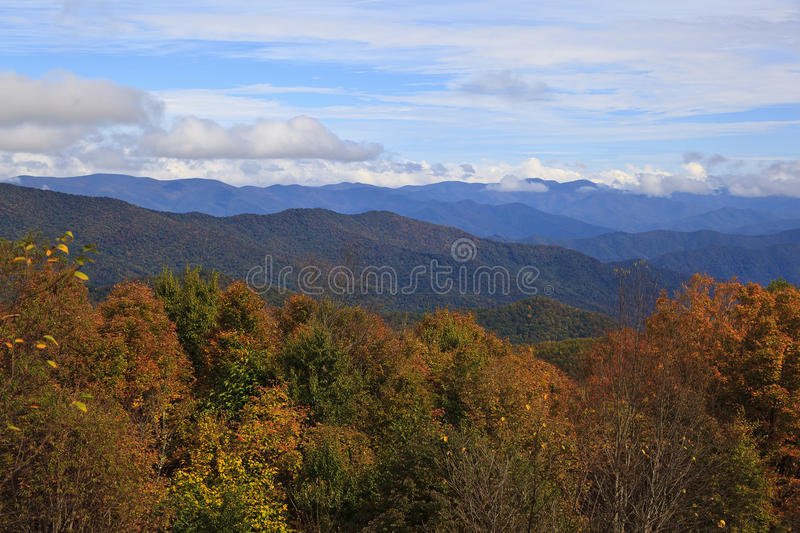 Blue Ridge Mountains with Clouds. Appalachian Blue Ridge Mountains in North Carolina royalty free stock image