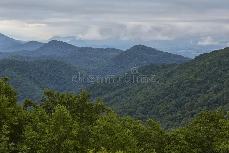 Blue Ridge Mountains near Buena Vista, Virginia. Scenic early morning view along the Blue Ridge Parkway near the town of Buena Vista, Virginia royalty free stock image