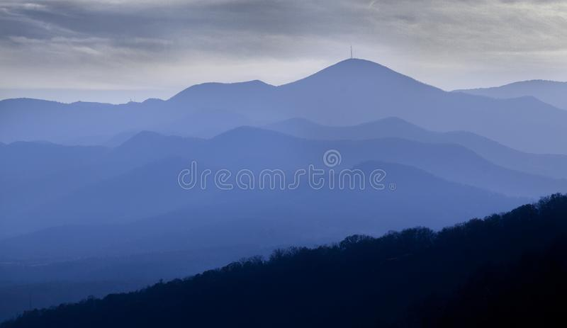 Blue Ridge Mountains of North Carolina with dramatic sky royalty free stock images
