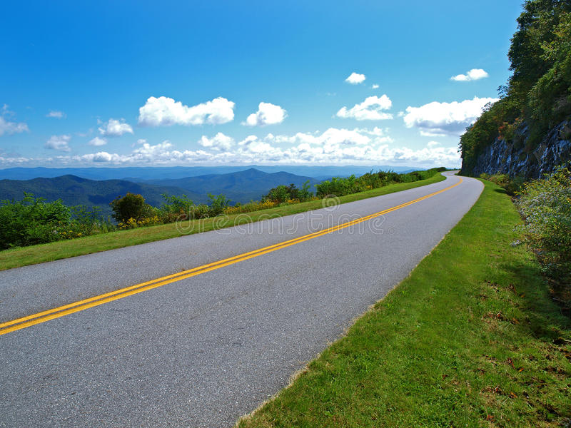 Blue ridge parkway. A scenic drive along the Blue Ridge Parkway going around Pisgah Mountain, NC. USA. long range view looking west toward Tennessee stock photo