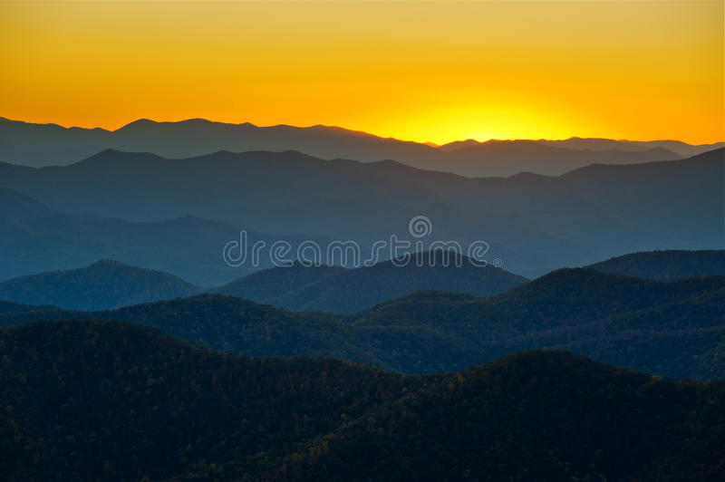 Blue Ridge Parkway Appalachian Mountains Layers royalty free stock images