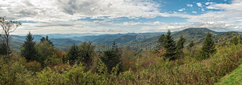 Blue Ridge Parkway - Caney Fork Overlook Panoramic. Panoramic view of Caney Fork Overlook on the Blue Ridge Parkway, North Carolina, United States stock image