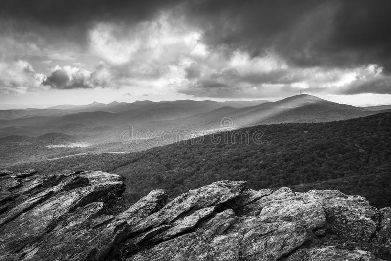 Blue Ridge Parkway Grandfather Mountain Scenic Landscape. Blue Ridge Parkway Grandfather Mountain Rough Ridge Scenic Landscape Overlook in black and white stock photography