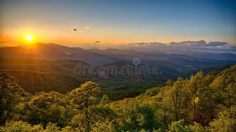Blue Ridge Parkway summer Appalachian Mountains Sunset royalty free stock images