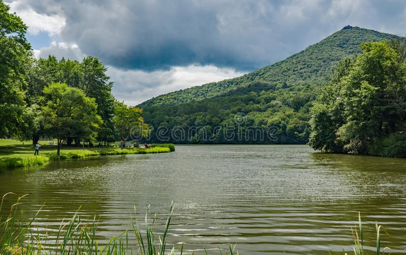 A Picturesque View of Abbott Lake and Sharp Top Mountain royalty free stock photo