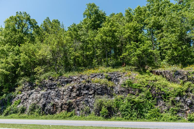 Blue Ridge Parkway vista in springtime, North Carolina royalty free stock image
