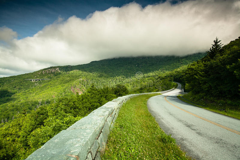 Blue Ridge Parkway Western North Carolina. Designed as a recreational motor road to connect the Great Smoky Mountains and Shenandoah National Parks, the Blue stock photography