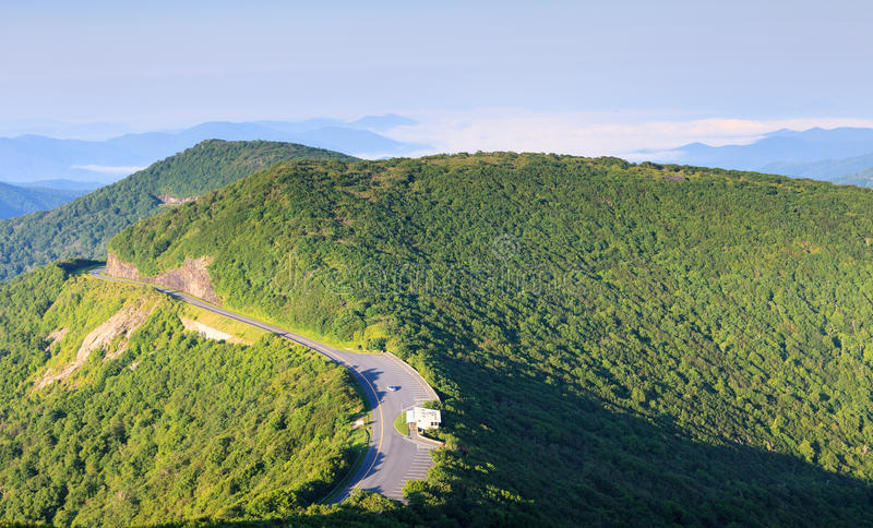Blue Ridge Parkway in Western North Carolina. The Blue Ridge Parkway as it winds through the Appalachian mountains near Craggy Garden Visitor Center in Western stock image