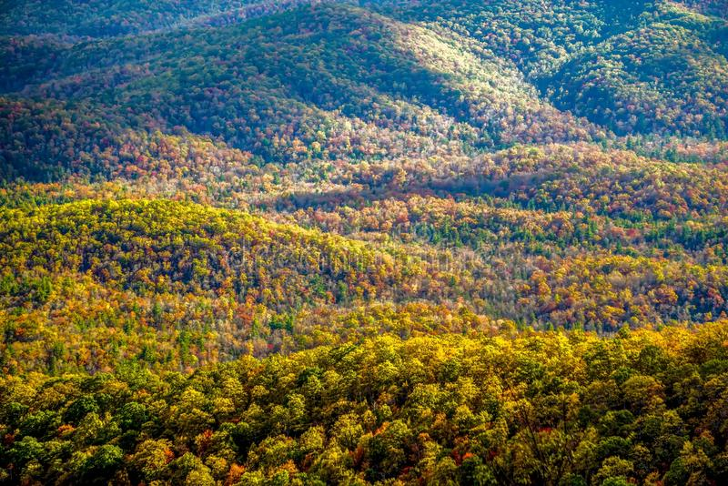 Blue ridge and smoky mountains changing color in fall. Blue ridge and smoky mountains changing  color in fall stock photo
