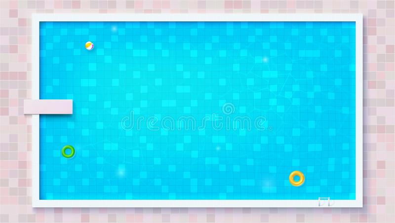 Blue ripped water in swimming pool, top view. Big outdoor pool with inflatable water toys, flat lay view. Air mattress. Beach ball, rubber circle. Vector stock illustration