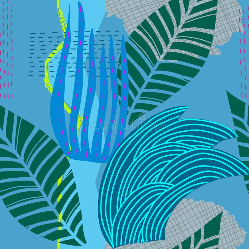 Blue river herb grass flow stream seamless pattern royalty free illustration