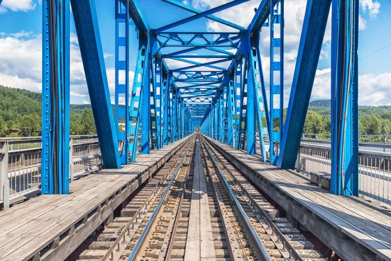 Blue river railway bridge view royalty free stock images