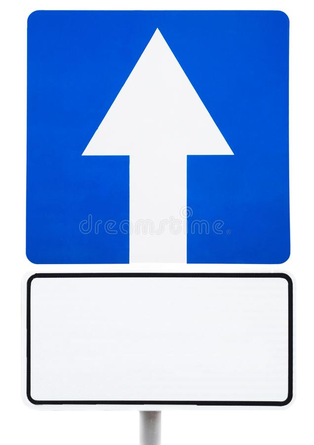 Blue road sign - forward movement with a white signboard for the inscription. royalty free stock photos