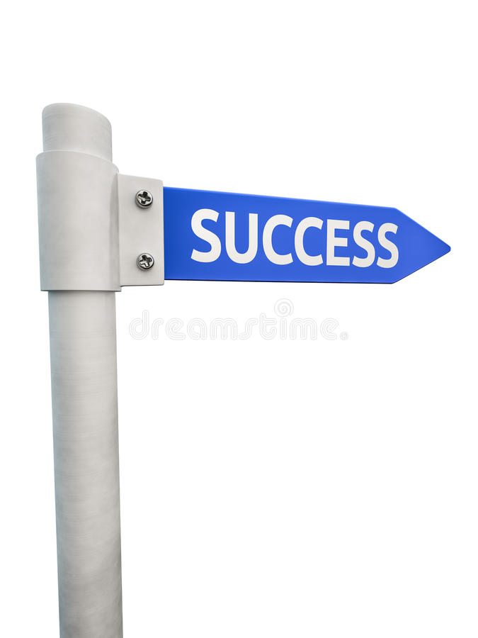 Blue road sign leading to success royalty free illustration