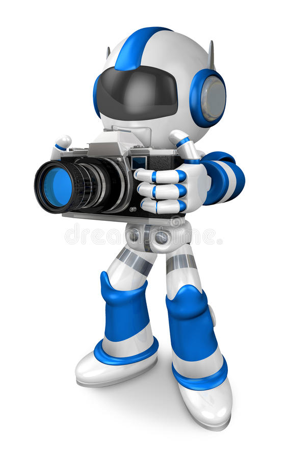 Download Blue Robot Character The Front To Shoot The Camera Toward Stock Illustration - Image: 34698373