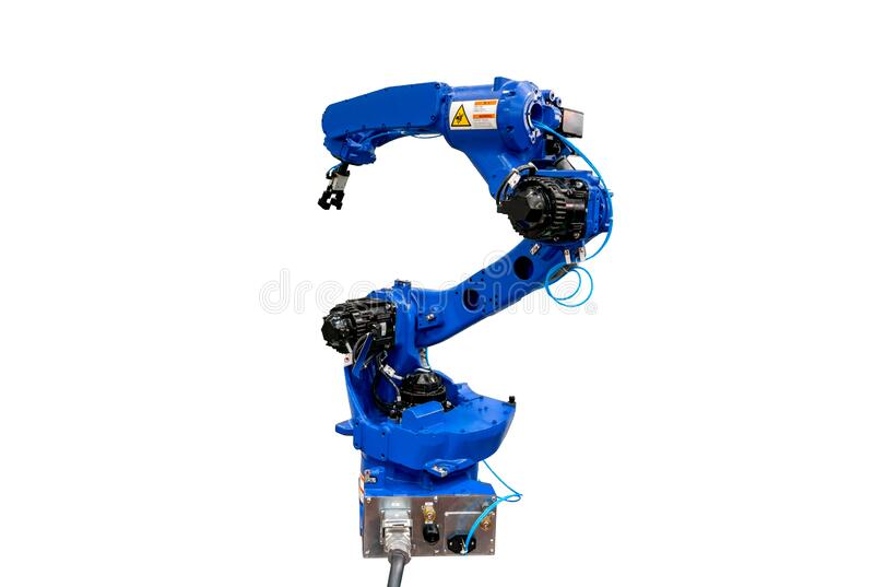 Robotic arm machine, Industry 4.0 Robot concept .The robot arm is working smartly in the production department on white background. Blue robotic arm isolated on royalty free stock images