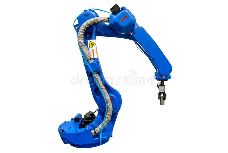 Robotic arm machine, Industry 4.0 Robot concept .The robot arm is working smartly in the production department on white background. Blue robotic arm isolated on stock image