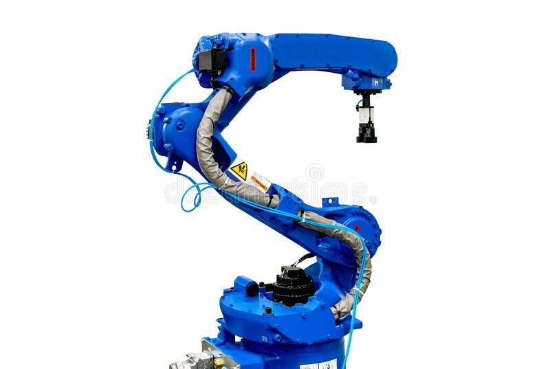 Robotic arm machine, Industry 4.0 Robot concept .The robot arm is working smartly in the production department on white background. Blue robotic arm isolated on stock photography