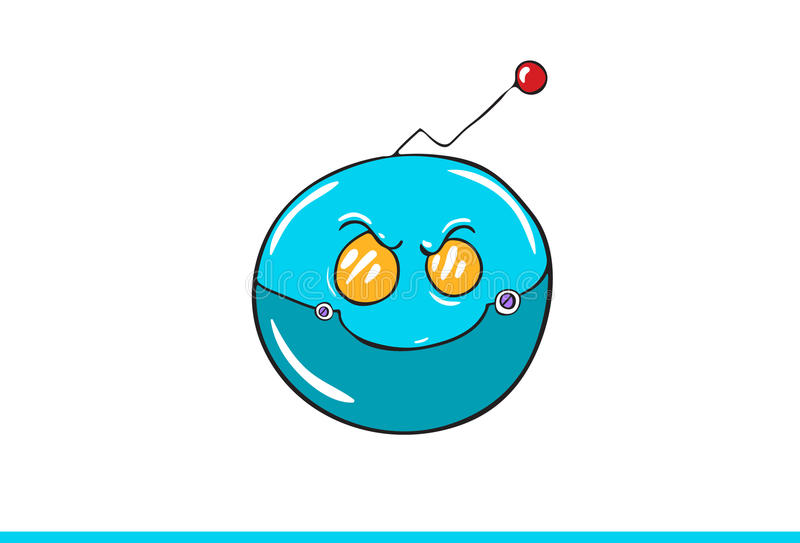 Blue Robotic Smiley face Icon isolated in white background. Illustration royalty free illustration
