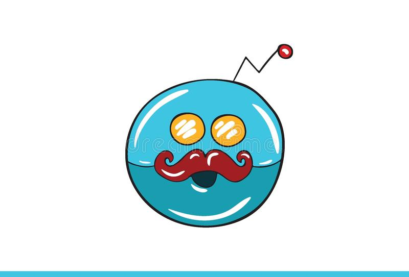 Blue Robotic Smiley face Icon isolated in white background. Vector Illustration stock illustration