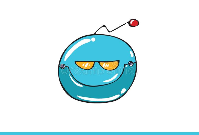 Blue Robotic Smiley face Icon isolated in white background. Vector Illustration royalty free illustration