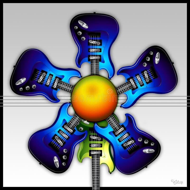 Blue Rock Guitar Flower Royalty Free Stock Photo