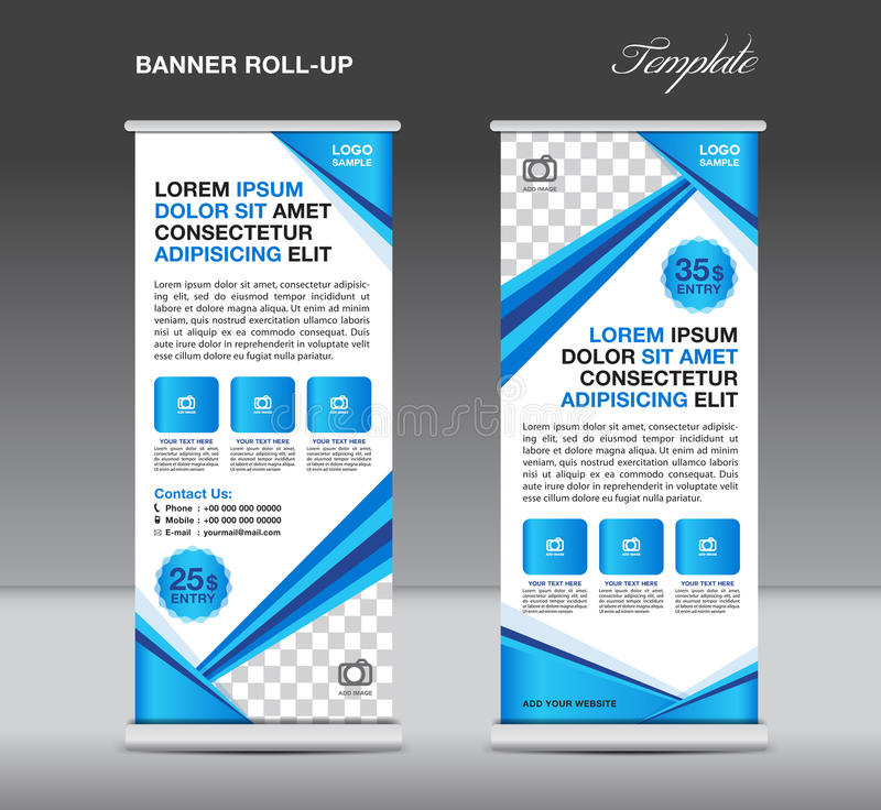 Blue Roll up banner stand template, banner template,advertisement,flyer templat, banner template. Roll up banner stand template, stand design,banner template vector illustration