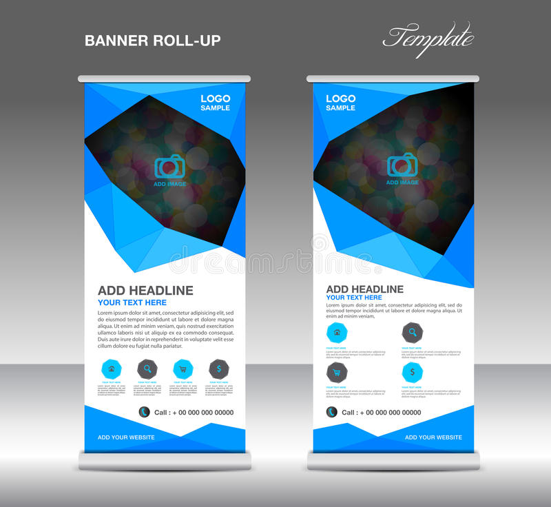 Blue Roll up banner stand template, stand design,banner template. Layout template stock illustration