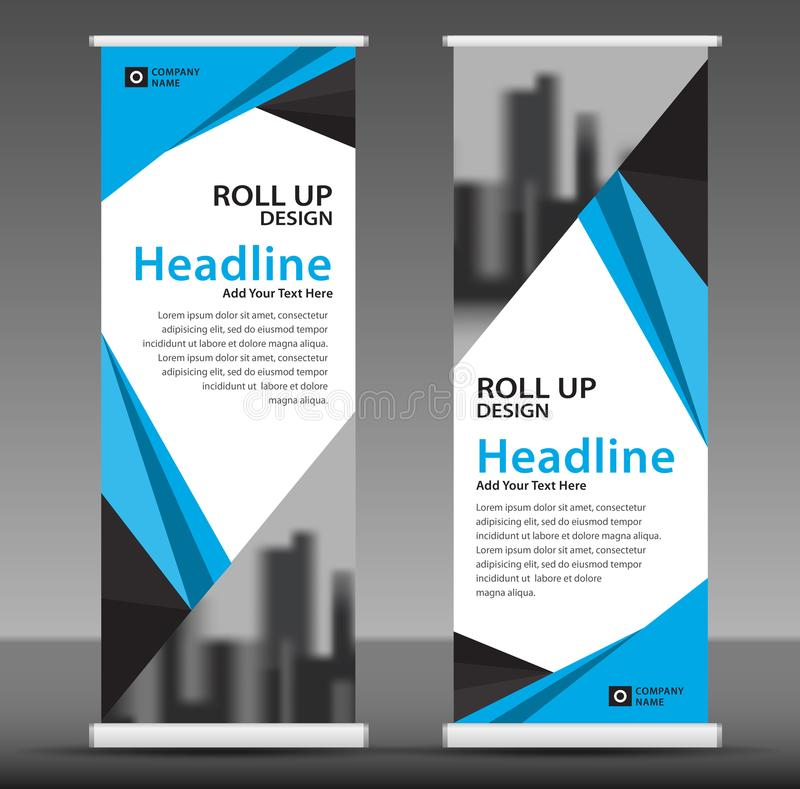 download blue roll up banner template business banner layout stand out stock vector