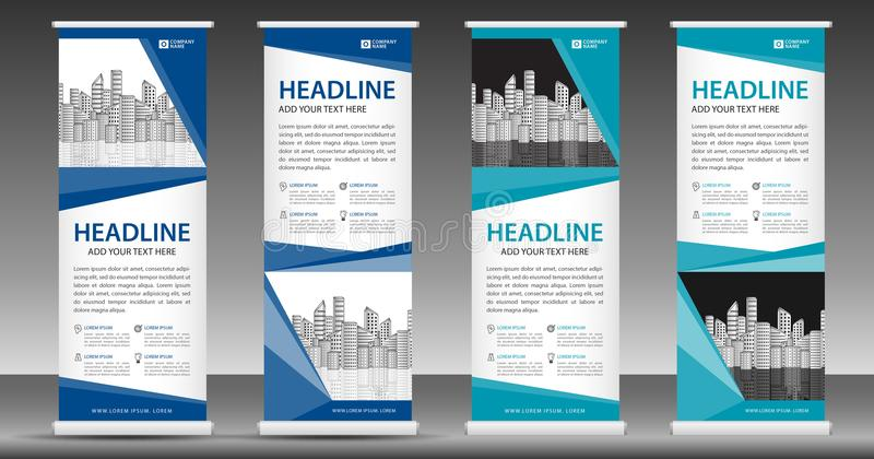 Blue Roll Up Banner Template Stand Design Pull Up Display