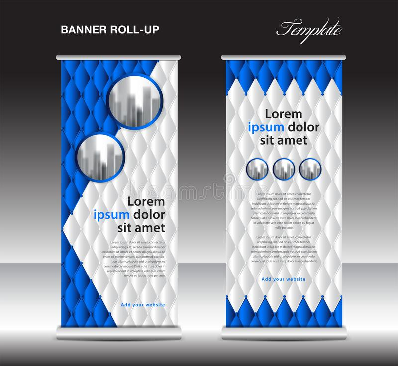 Blue Roll up banner template vector, advertisement, x-banner, poster, pull up design, display, layout , business flyer, web banner. Exhibition, stand vector illustration