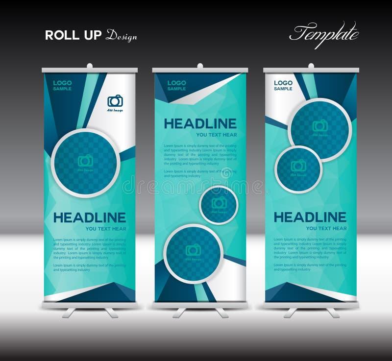 Blue Roll Up Banner template vector illustration polygon background. Blue Roll Up Banner template vector illustration,polygon background,banner design vector illustration