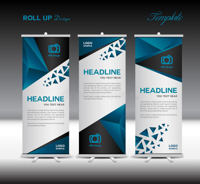 blue roll up banner template vector illustration polygon. Black Bedroom Furniture Sets. Home Design Ideas