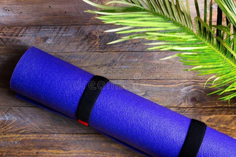 Blue rolled yoga mat lying on wooden background with green palm leaf. Fitness harmony meditation workout retreat concept stock photography
