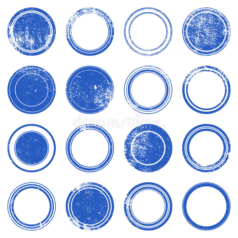Blue Ronded Grunge Stamp. Grunge stamp - set of grunge overlay stamp texture for your design. EPS10 vector royalty free illustration