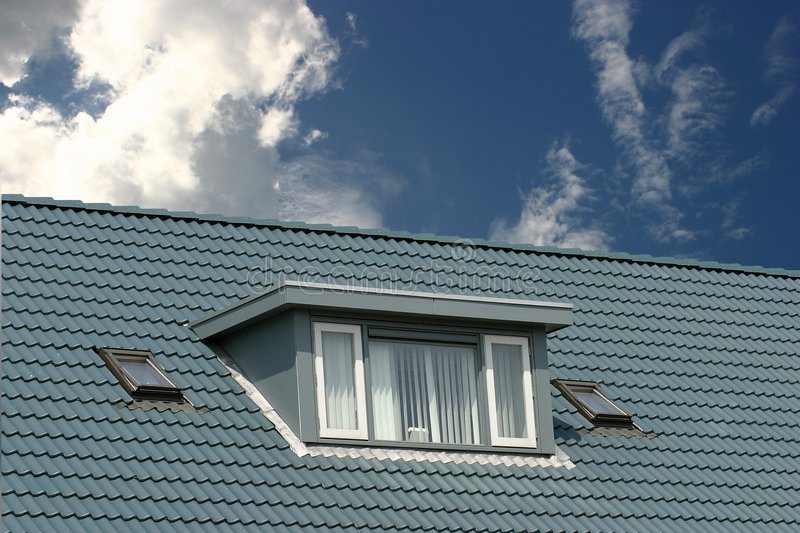 Blue roof stock photo