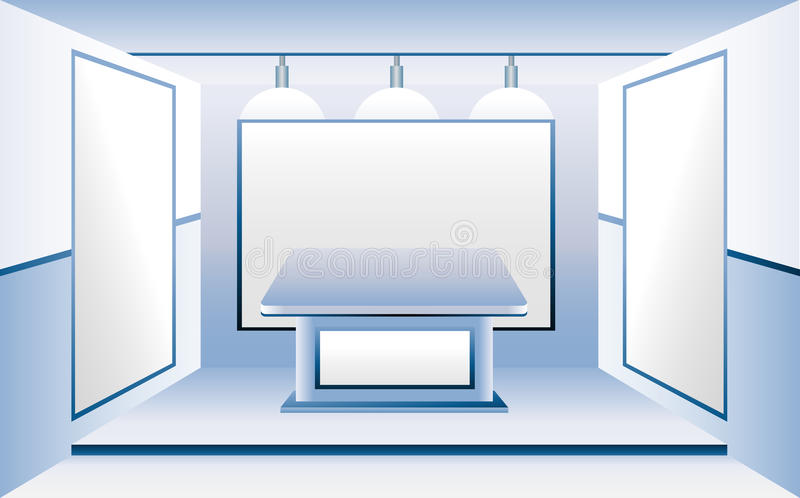Download Blue Room With Blank Business Stands Stock Vector - Image: 12354948