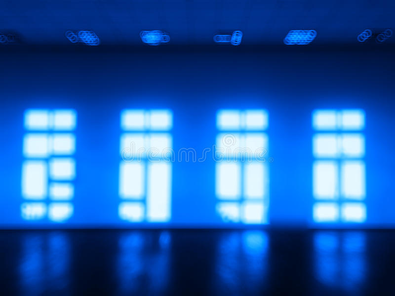 Blue room with multiple windows bokeh. Hd royalty free illustration