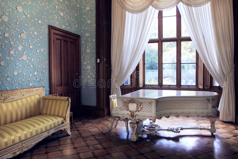 The blue room in the Vorontsov palace. The Vorontsov Palace (Alupka Palace) is an historic palace situated at the foot of the Crimean Mountains near the town of royalty free stock image