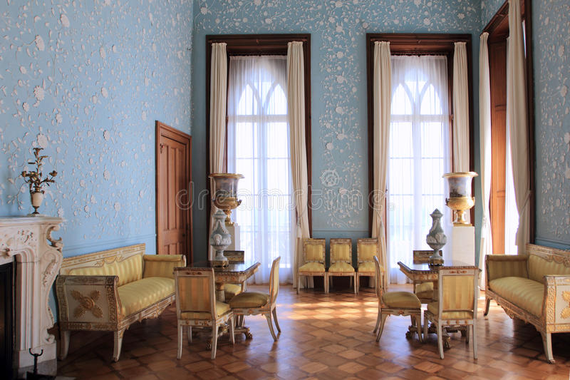The blue room in the Vorontsov palace stock photos