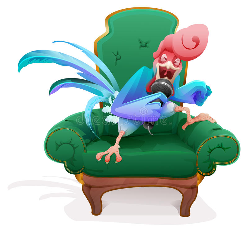 Blue Rooster symbol 2017. Rooster in chair singing into microphone song royalty free illustration